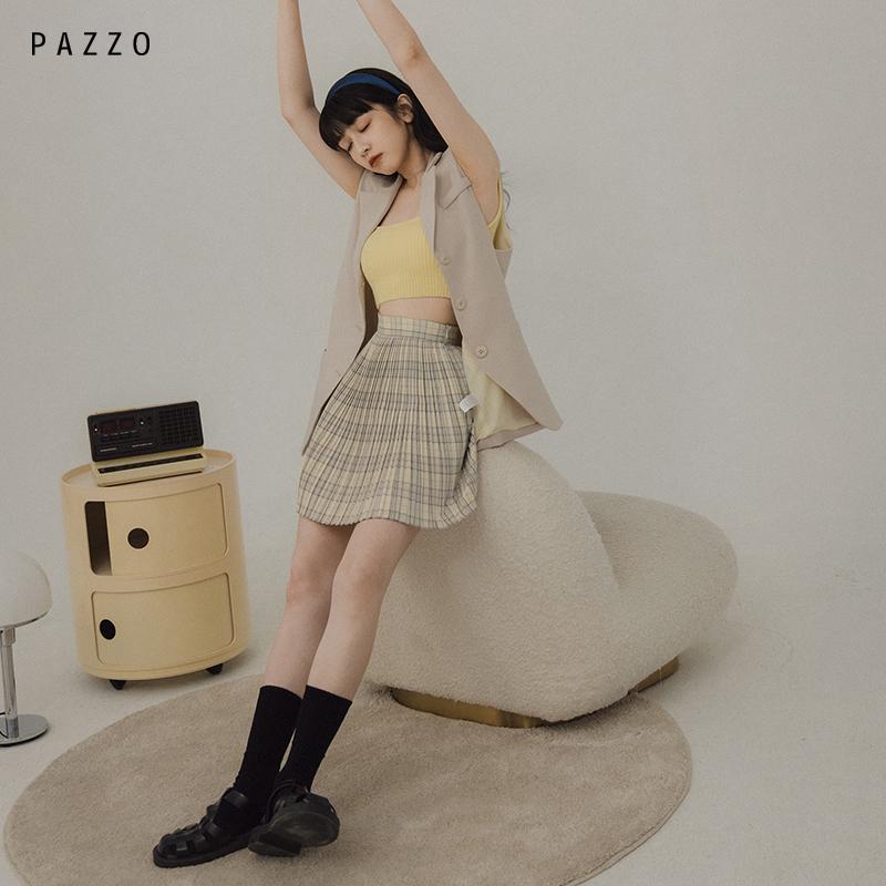 PAZZO│短裙女SWEET韩系小时髦格纹打摺A字裙 P40103057