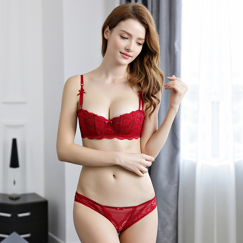 Victorias thin red half cup bra suit of the year of life