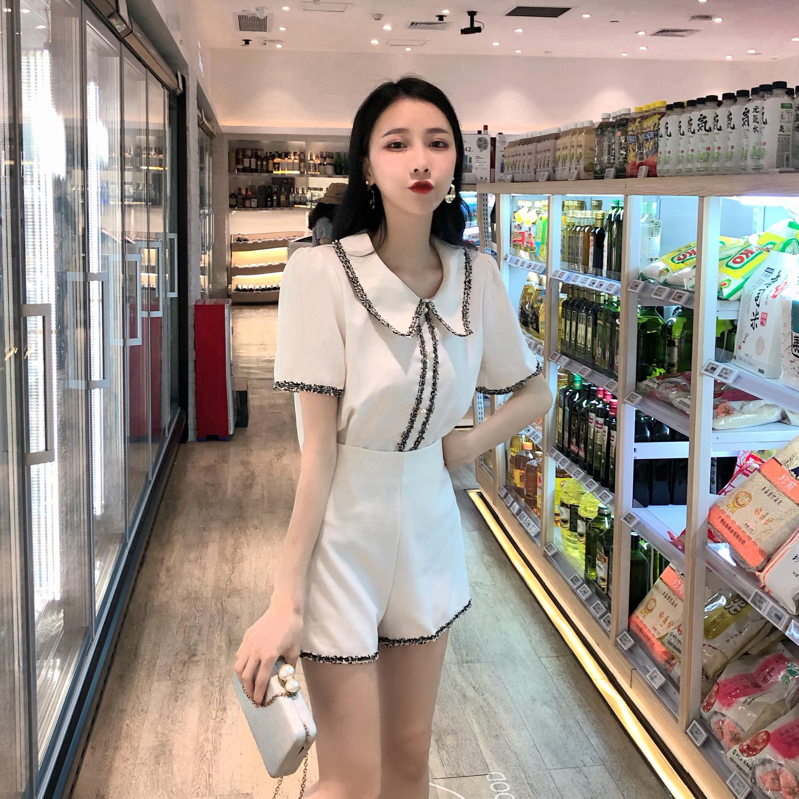 实拍实价韩版chic气质排扣翻领上衣+高腰显瘦阔腿短裤两件套