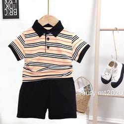 图图家童装男童t恤2020夏季新款男女宝宝短袖条纹polo衫上衣 洋气
