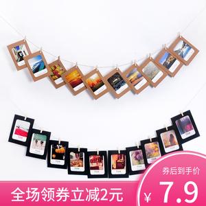 創意畫框組合4567寸掛墻簡易懸掛卡紙相框牛皮紙照片墻裝飾夾子