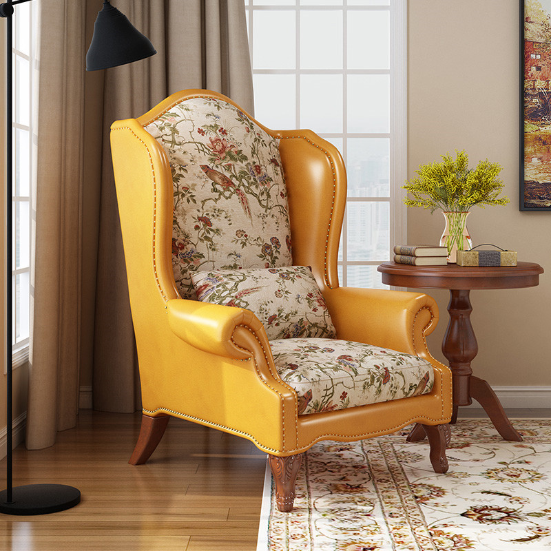 Tiger chair American single sofa washable light luxury beauty IKEA living room small family integrated leisure chair stool combination