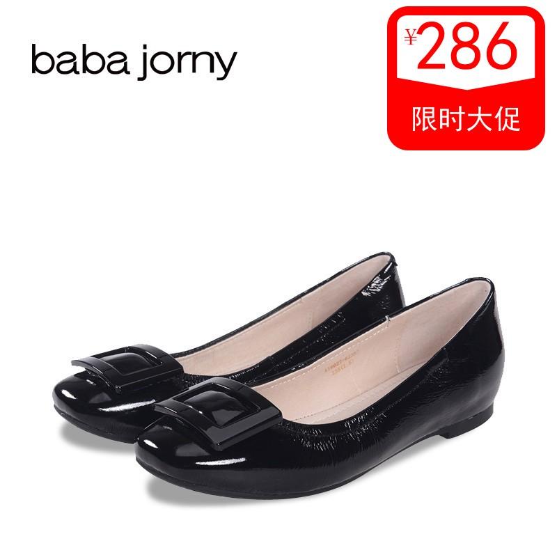 巴巴娇妮春季新款低跟内增高方扣舒适小白鞋女单瓢鞋