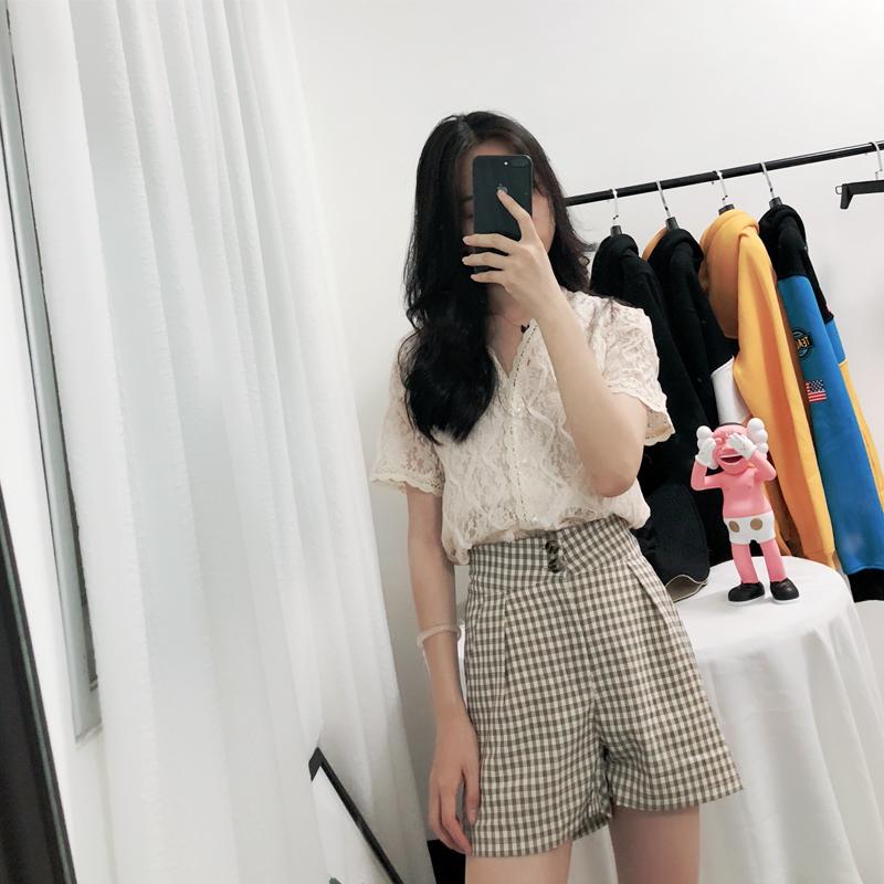 钩花镂空v领短袖蕾丝衫女夏装2018新款宽松显瘦开衫超仙闺蜜上衣