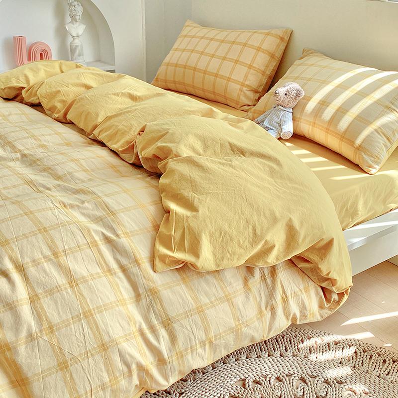 春夏款水洗棉四件套100三件套床单