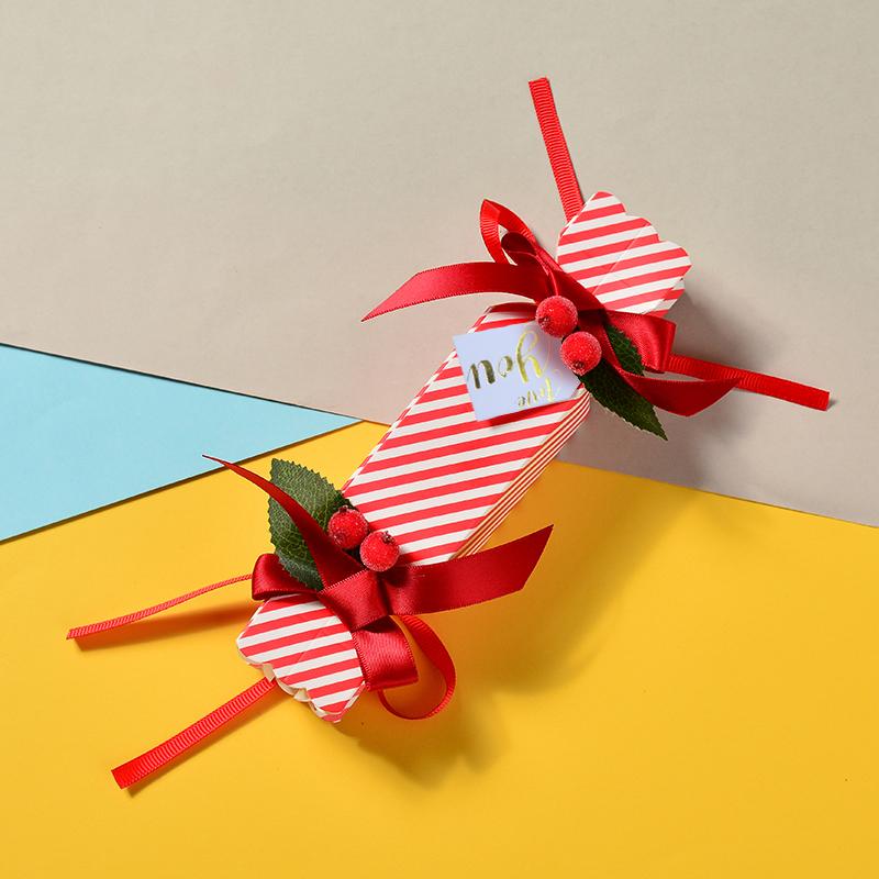 1.75元包邮欧式创意条纹糖果形红豆糖果包装盒