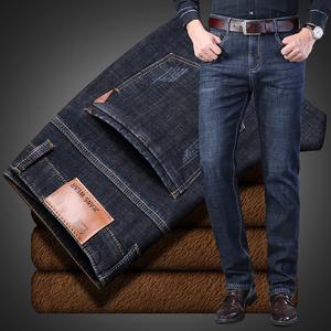 秋冬季高弹力加绒牛仔裤男装中年加厚直筒宽松肥佬加肥加大码长裤