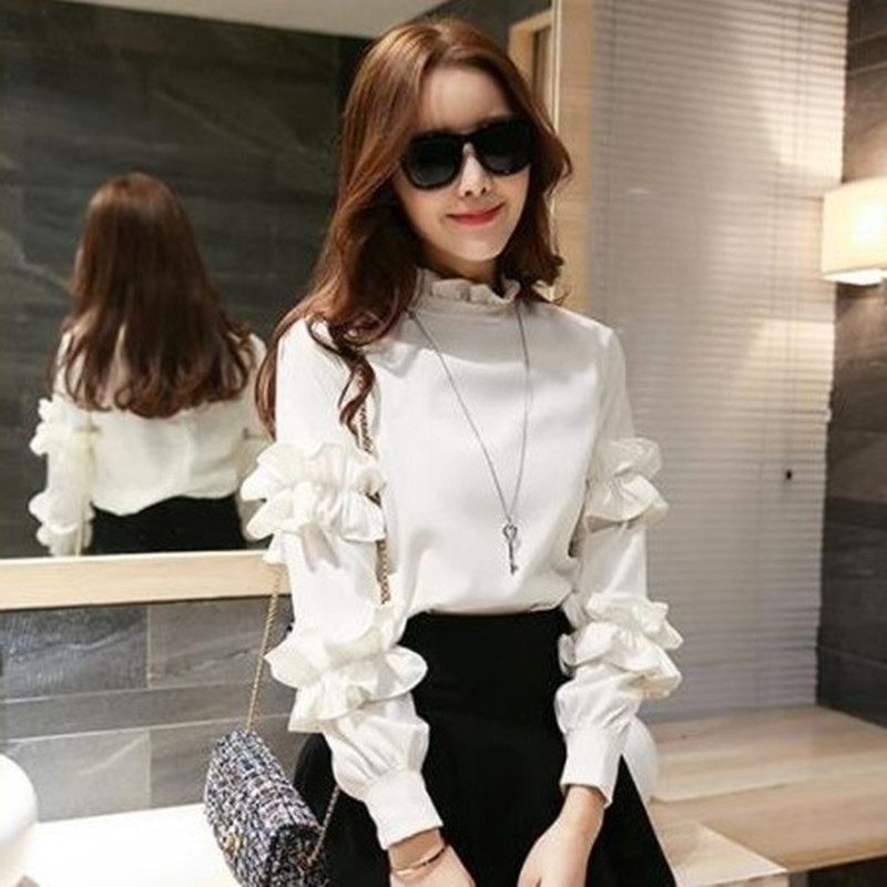 2019 new long sleeve T-shirt loose large womens T-shirt spring and autumn style versatile Ruffle bottoming trend