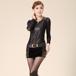 Autumn and winter PU leather fight horsehair skirts boots skirt short skirt zipper Slim thin hip culottes Free Belt