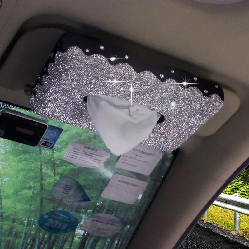 镶钻汽车用纸巾盒抽车载车内带钻天窗遮阳板挂式抽纸盒餐巾纸抽盒
