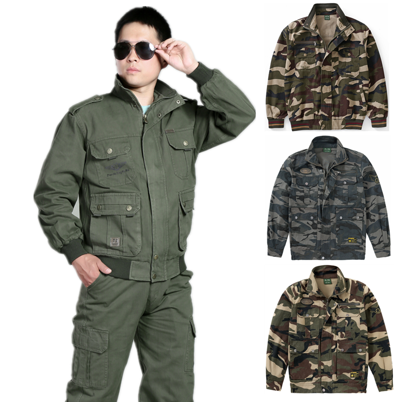 Cotton overalls suit mens autumn and winter work clothes electric welder large wear-resistant and anti scalding single coat auto repair labor protection suit