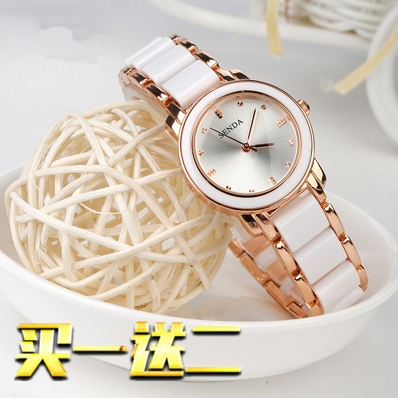 Korean fashion Ceramic New Womens watch student waterproof womens quartz watch alloy fashion bracelet womens Watch