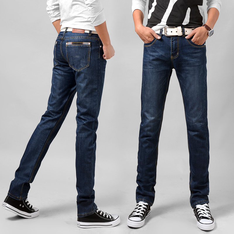 Mens straight casual jeans loose youth mens trousers spring and autumn business large medium waist mens trousers