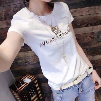 欧洲站2019春夏装新款纯棉T恤女短袖亮片字母白色上衣修身显瘦潮
