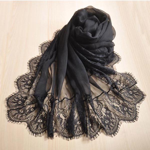 Дикие Корейский зимний сорт черного кружева шить шелковые шарфы шарф женщин белый длинный твердый цвет