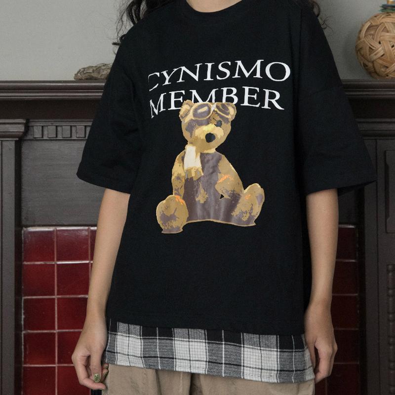 满99元可用10元优惠券cynismo复古小熊拼接格子短袖t恤