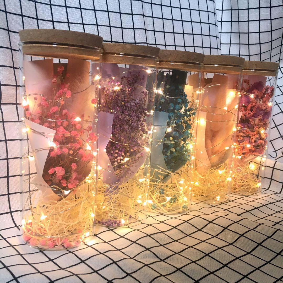 LED свет в небе звезда сухие цветы букет стеклянные бутылки украшение подруга вечная жизнь цветок действительно подарок diy рождество день рождения подарок