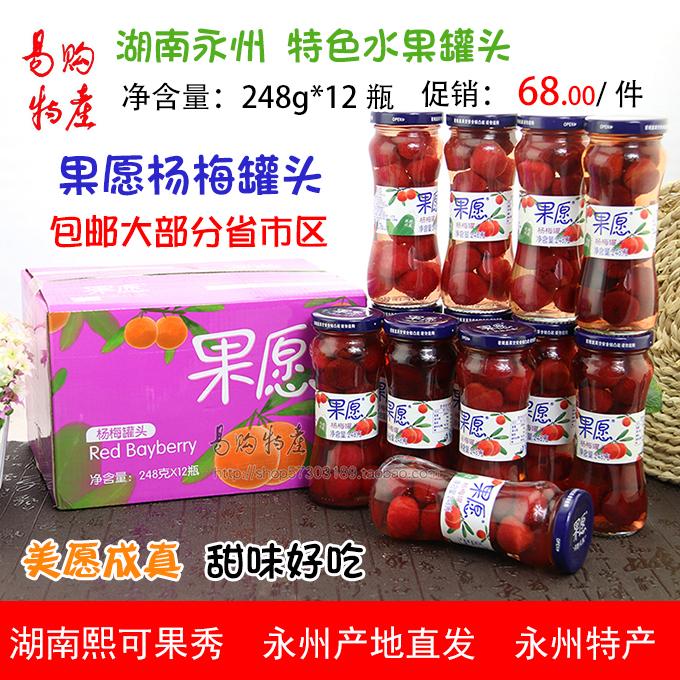 果愿杨梅罐头礼盒装 248克X12罐 送礼礼盒礼品 熙可果秀水果罐头