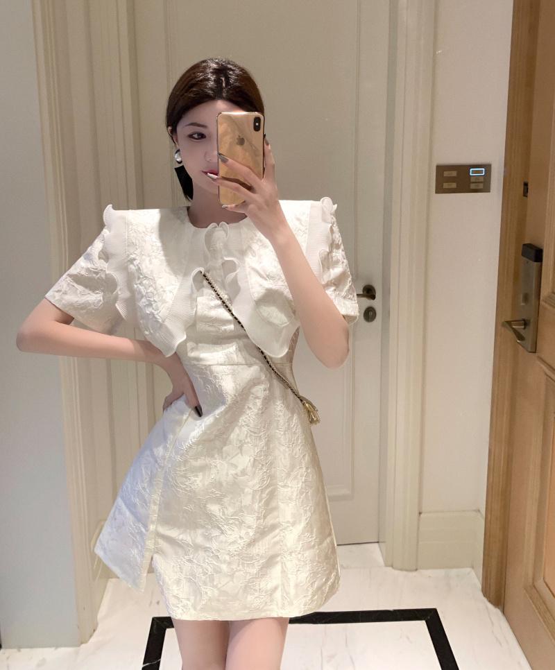 タオバオ仕入れ代行-ibuy99|短裙|娃娃领连衣裙女夏季薄款修身气质开叉短裙显瘦小个子短袖白色裙子
