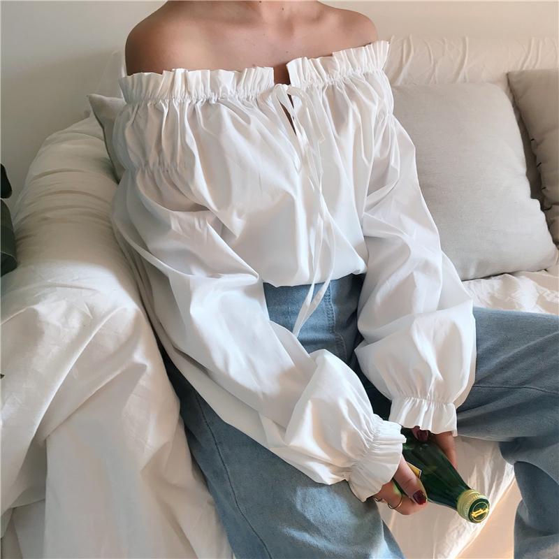 春装港味新款女装木耳花边一字肩气质系带松紧一字领长袖上衣衬衫