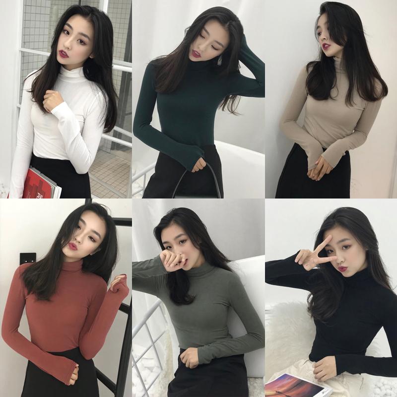 复古港风chic上衣秋季新款长袖高领T恤紧身显瘦纯色打底衫女学生