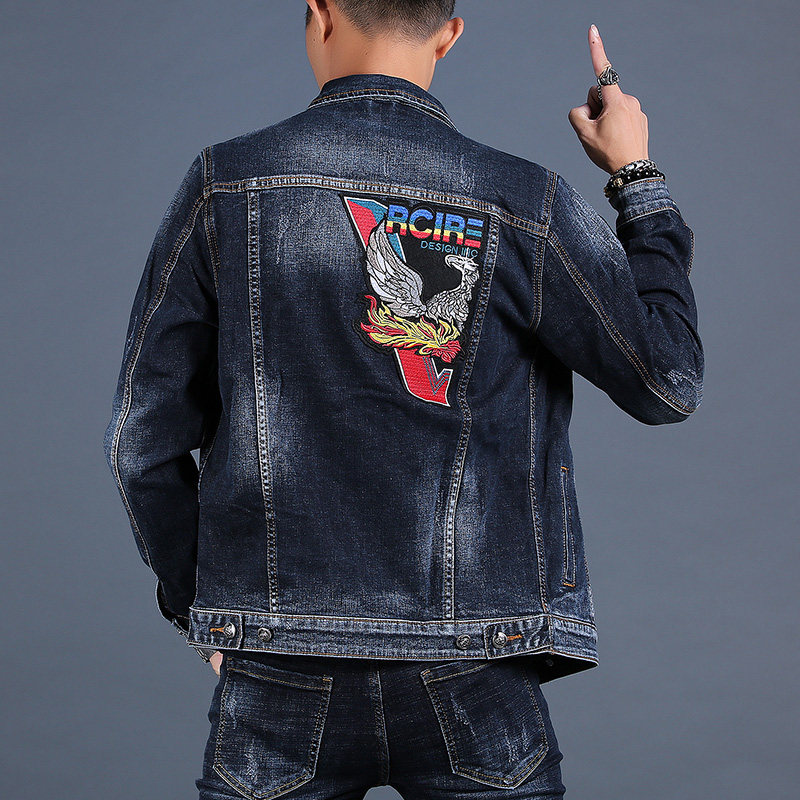 2020 mens Embroidered Denim coat mens fashion suit Korean Trend casual pants slim Top Jacket
