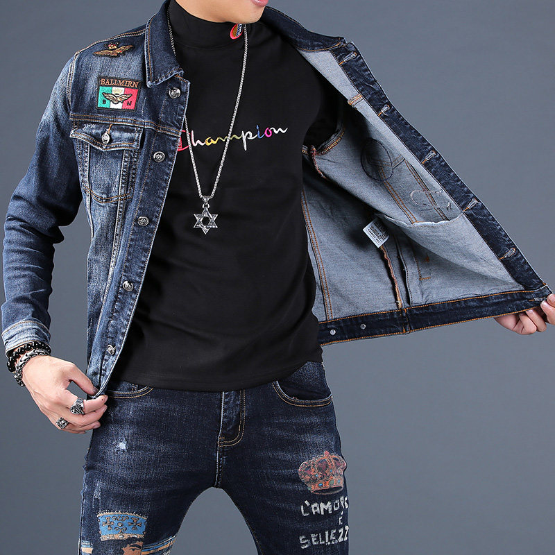Spring and autumn new mens Embroidered Denim coat mens fashion brand casual Korean fashion jacket top suit men