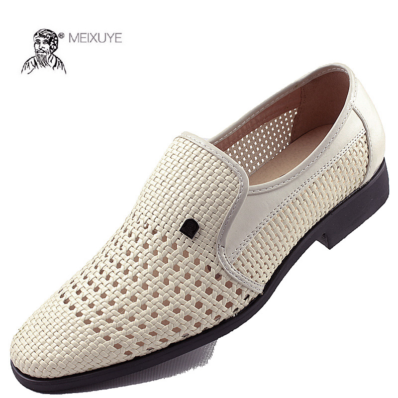 Summer mens pointy breathable business dress leather shoes white hole leather sandals perforated woven hollow mens shoes
