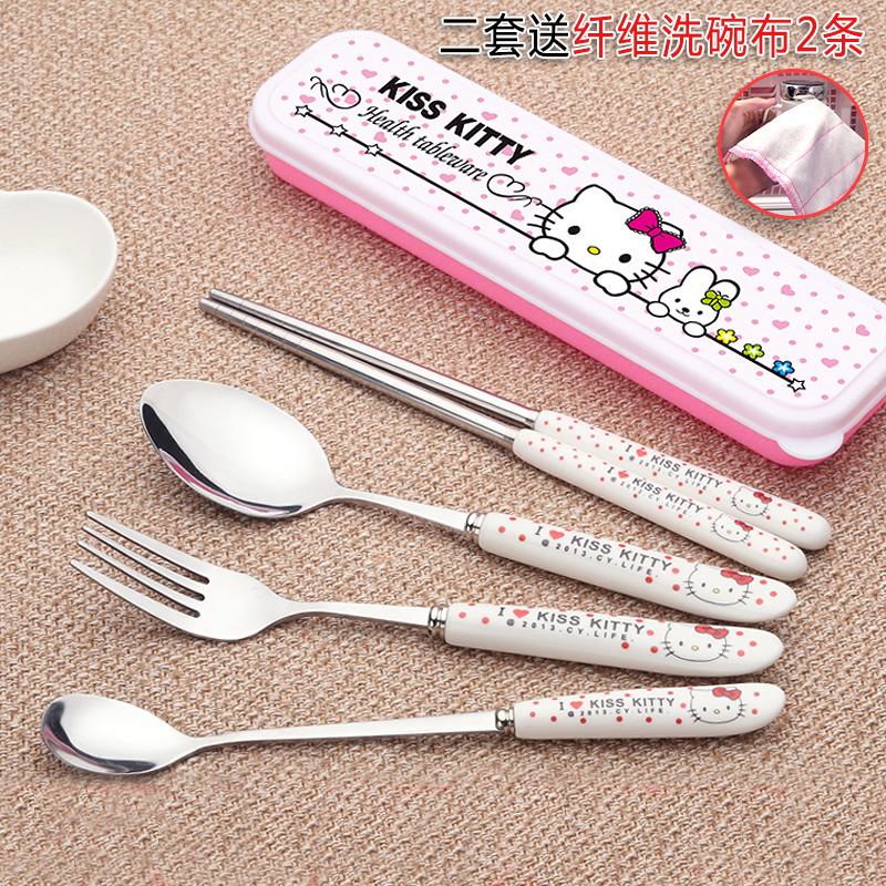 Милый портативный посуда три образца студент посуда костюм нержавеющая сталь палочки для еды мультики ребенок ложка вилка для взрослых коробка