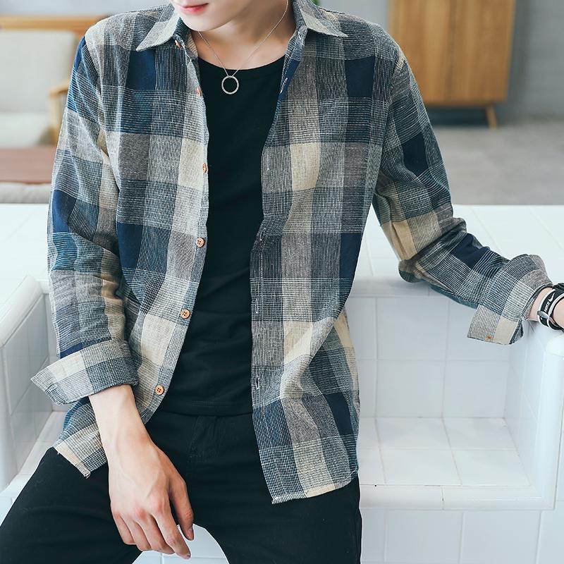 男士宽松格子衬衫外套夏季长袖衬衫休闲上衣韩版薄款男装衬衣潮流图片