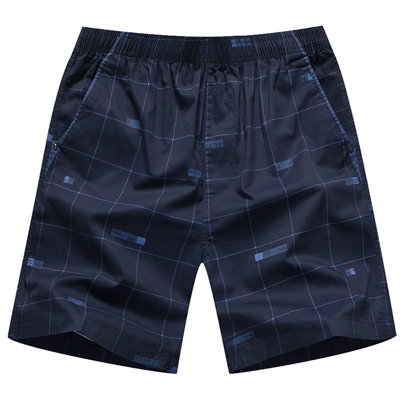Plaid casual shorts mens summer beach pants pure cotton loose home Capris sports underpants sleeping wear