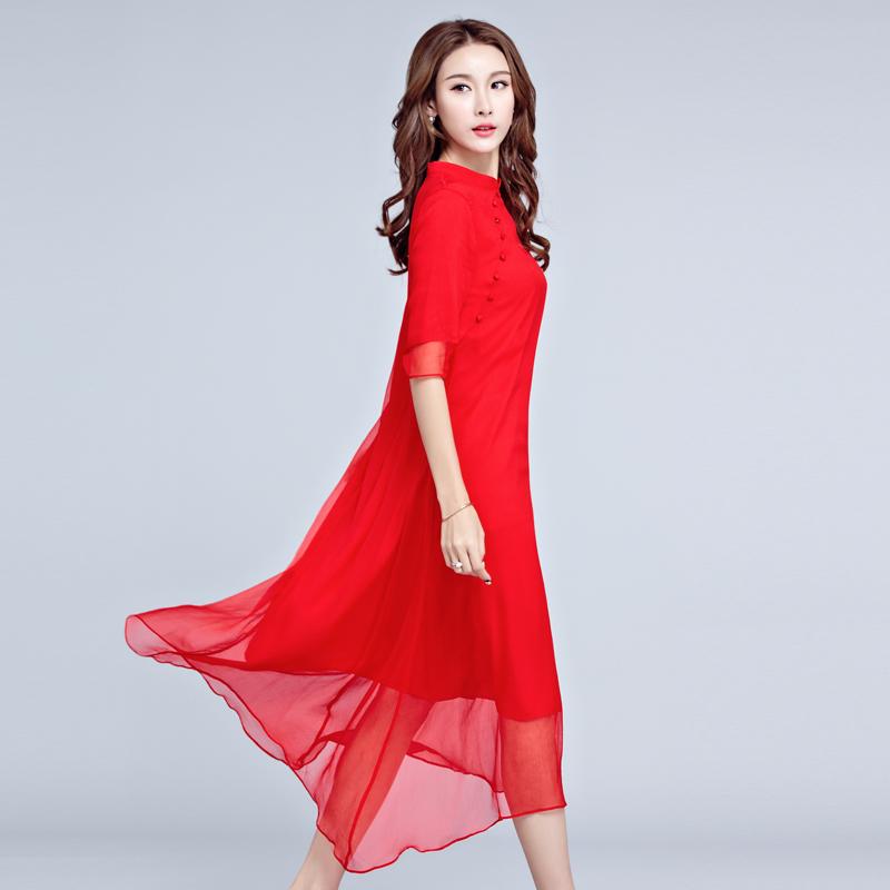 2018春夏品牌女装中国风改良旗袍裙民族红色真丝桑蚕丝连衣裙长裙