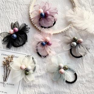 韓國進口花朵蝴蝶結兒童髮圈大人少女皮筋女童髮飾唯美扎發繩髮夾
