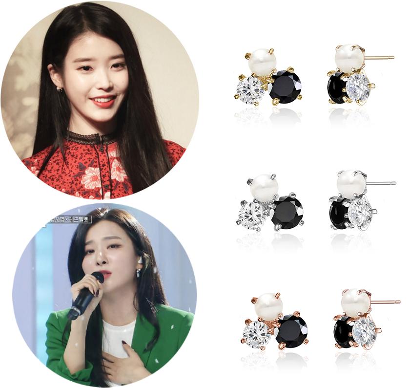 Red Velvet姜涩琪 李知恩iu同款 韩国代购正品 珍珠镶钻耳钉 耳环