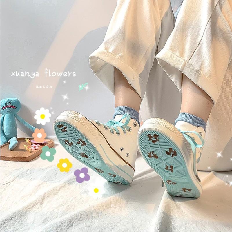 泫雅风棉花糖少女鞋鮀学生帆布鞋品2019秋冬韩版潮鞋蛮蛮高帮板鞋