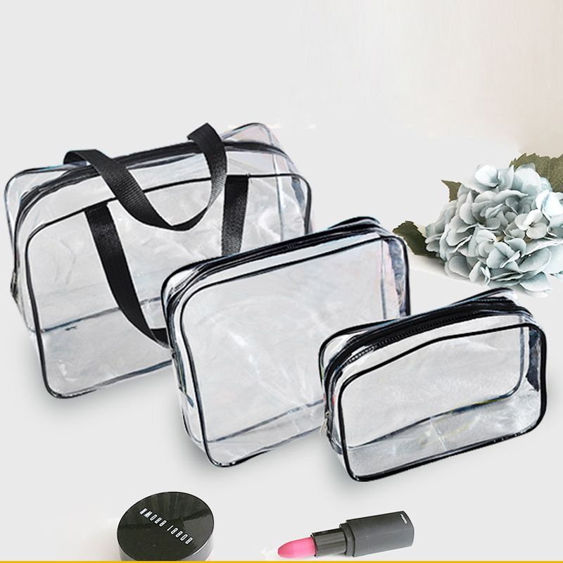 Thickened PVC transparent zipper portable cosmetic bag large capacity waterproof portable skin care wash bag storage bag