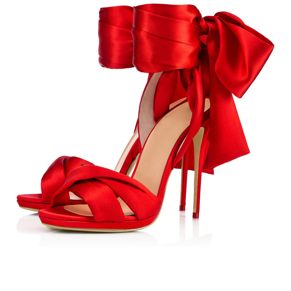 2020 customized new wedding shoes silk bow tie high heel T-stage show skirt daily matching high heels