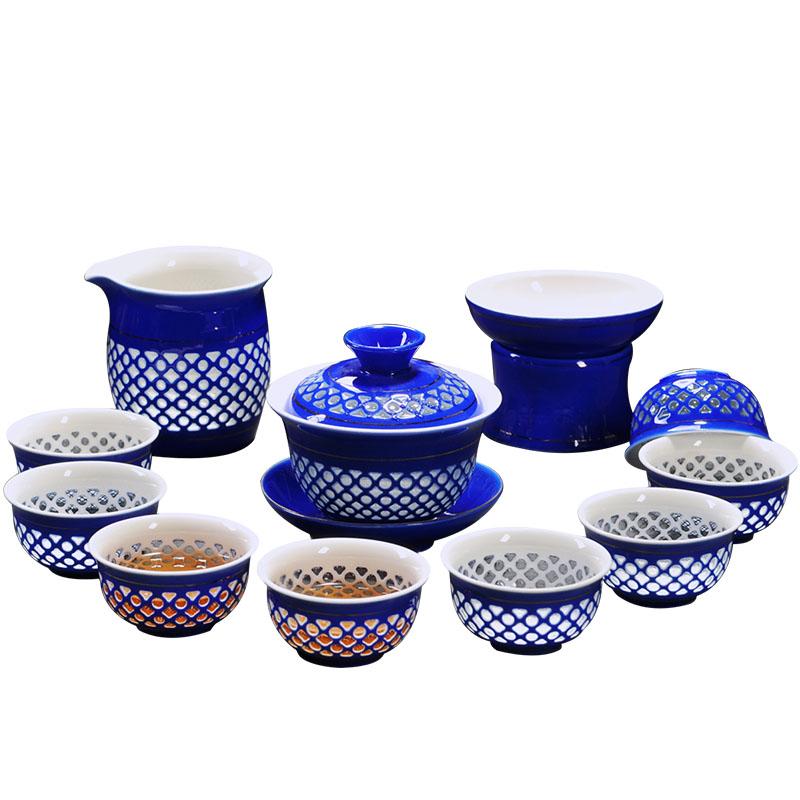蜂窝玲珑茶具套装青花瓷礼盒陶瓷景德镇功夫茶杯镂空蜂巢整套特价