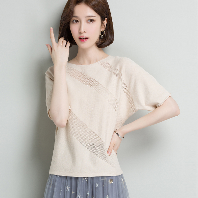 Knitted short sleeve womens 2020 summer new loose thin ice silk top solid color basic T-shirt simple and versatile