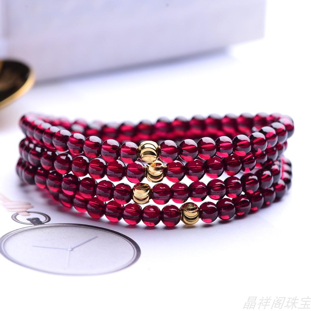 Genuine natural red garnet purple tooth black gold transfer bead bracelet womens multi Circle Bracelet birthday gift