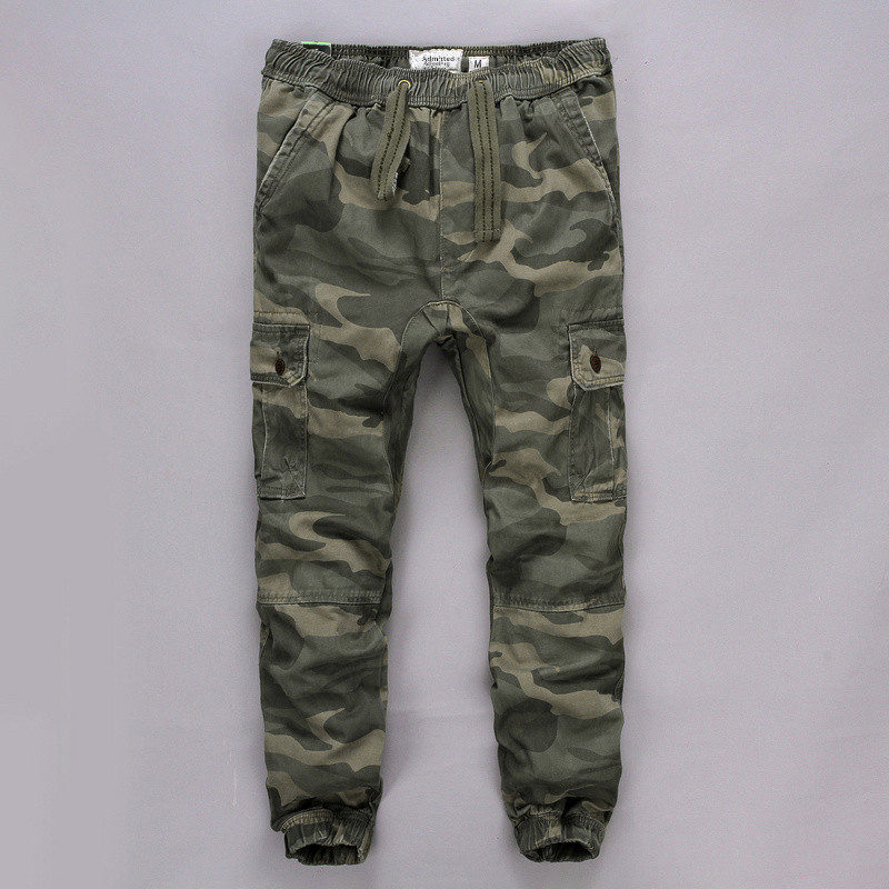 Mens camouflage pants, overalls, cotton washed mens pants, outdoor work clothes, multi bag pants, leggings, sports pants