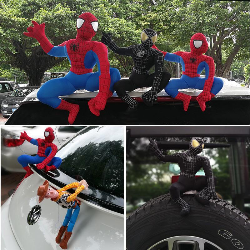 车顶装饰玩偶汽车外部装饰车尾车顶贴玩偶搞笑公仔摆件发条蜘蛛侠