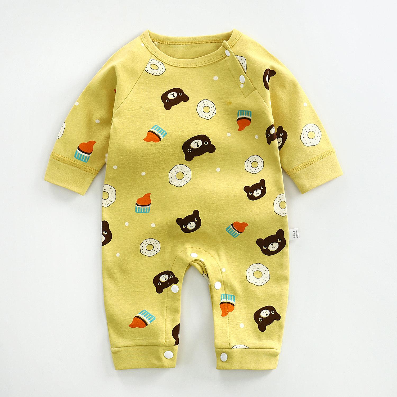 新生婴儿连体衣春秋长袖男爬服3到6个月女宝宝纯棉薄款秋冬装哈衣图片