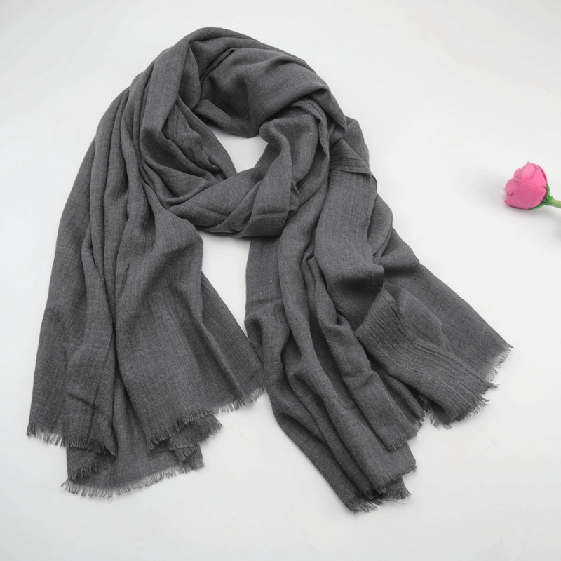 Solid color versatile spring and autumn winter thin cotton and linen scarf mens and womens Linen dark gray shawl tide long pleated Korean version
