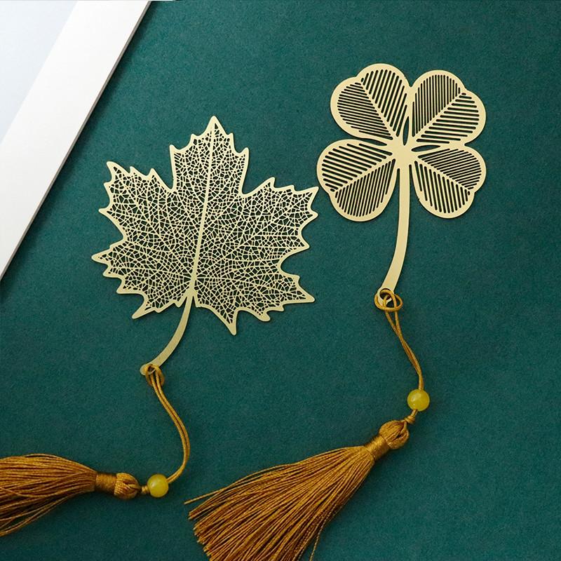 黄铜金属植物叶脉书签古典中国风创意小清新学生用生日文创礼品