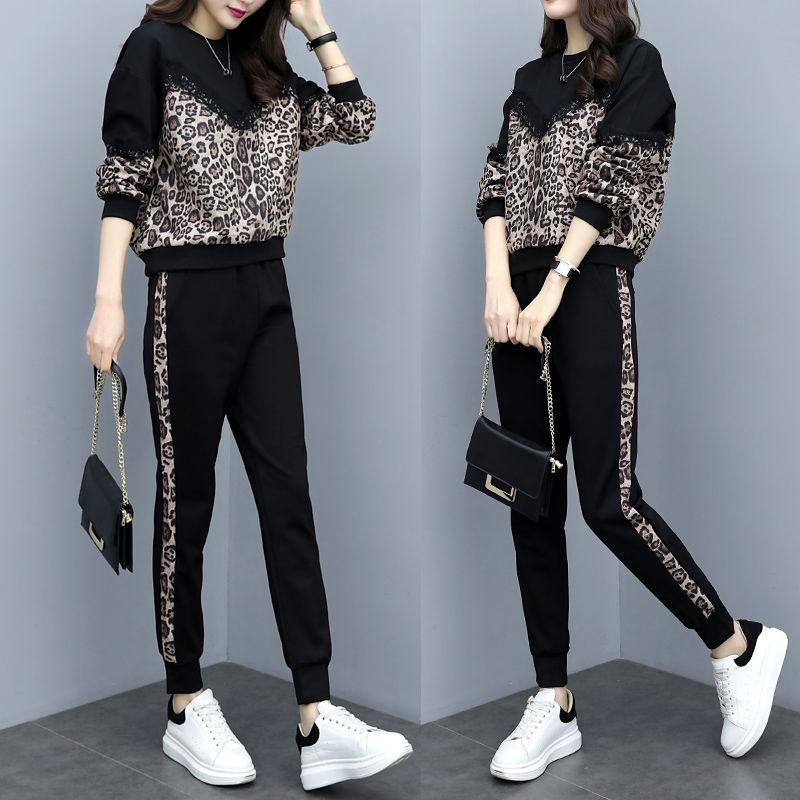 12月01日最新优惠P86大码女装潮2019秋季休闲运动套装洋气豹纹宽松显瘦长裤两件套