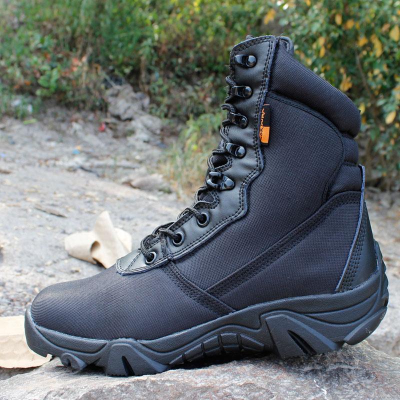 迷彩军靴男特种兵 07作战靴沙漠战术靴户外登山靴陆战靴高邦侧拉