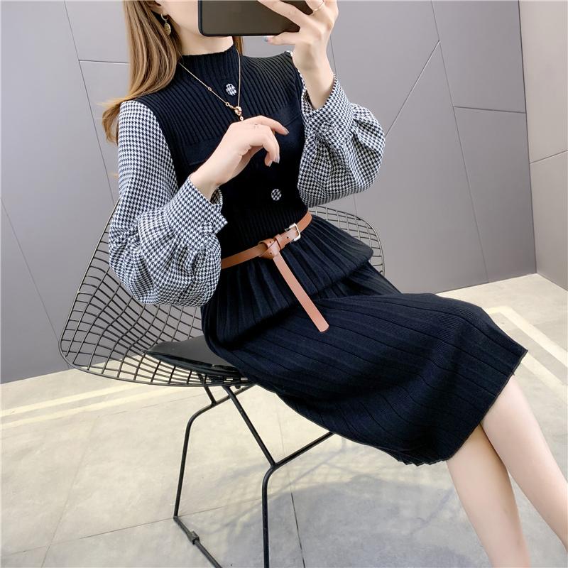高端质量17662实拍新款秋冬针织衫毛衣格子袖拼接腰带连衣裙