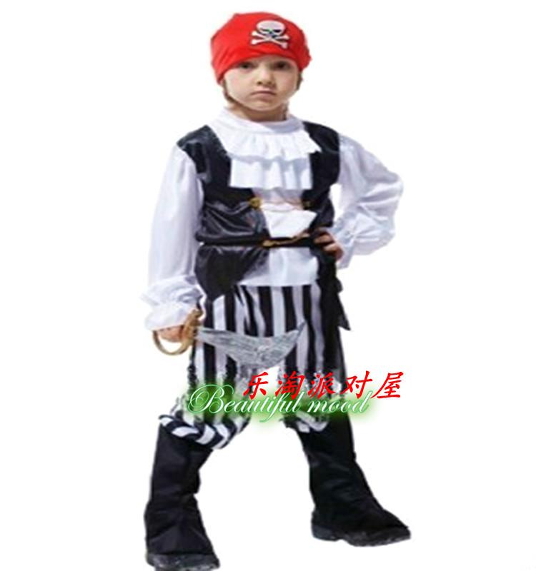 Дети Хэллоуин косплей костюм мальчиков Nordic малые Пираты Карибского пирата капитана одежды
