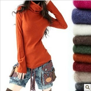 New sweater short paragraph bottoming sweater genuine cashmere sweater piles collar sweater Discounted Women